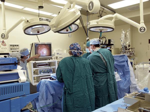 Gastroenterologist performing colonoscopy