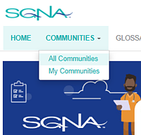 SGNA Communities Menu