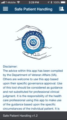 Safe Patient Handling app Welcome screen