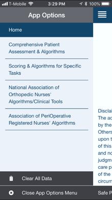 Safe Patient Handling app tool menu